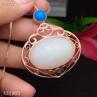 KJJEAXCMY boutique jewelry 925 sterling silver inlaid natural Hetian jade jewel female necklace pendant support test
