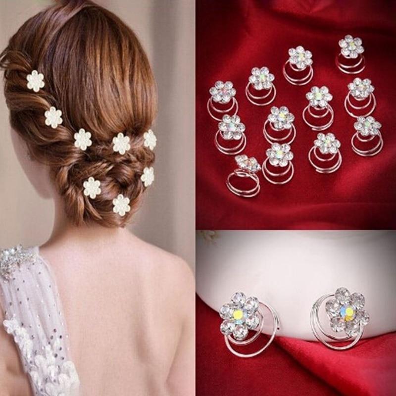 Women Wedding Bridal Crystal Rhinestone Rose Flower Hair Accessories Girls Hair Twist Device   Headwear