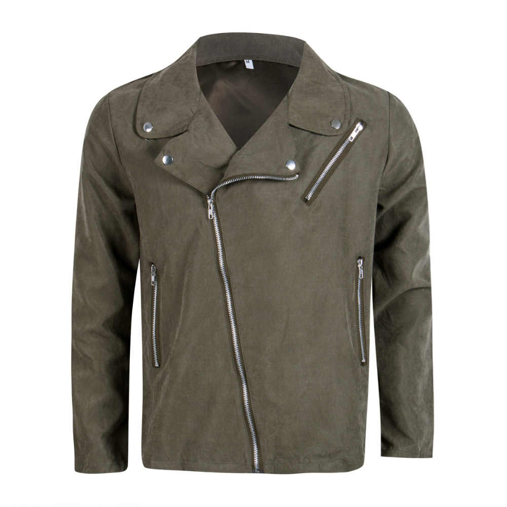 9c8295ddf Stylish Men's Pea Coat Warm Suede Leather Blend Biker Jacket Zipper Outwear  Tops