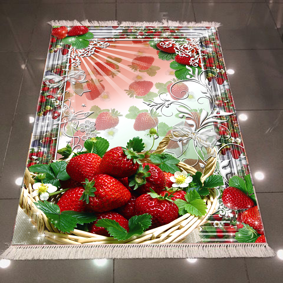 Else Red Strawberry Fruits Plates Floral Flowers 3d Print Microfiber Anti Slip Back Washable Decorative Kitchen Area Rug Carpet