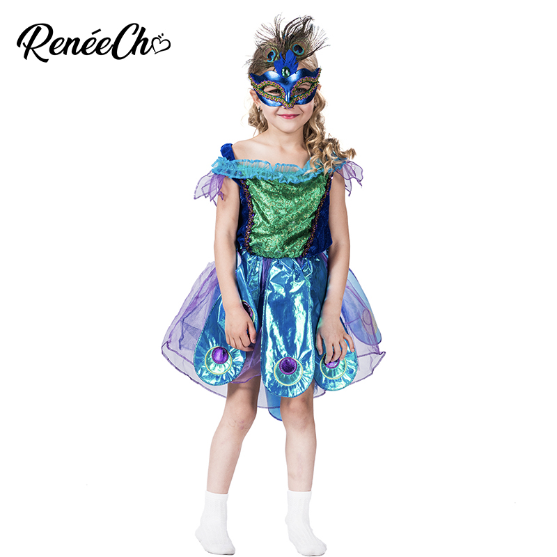 Halloween Costume For Girls Beautiful Princess Dress For Birthday Party Child Peacock Costume Fantasias Christmas Costumes Kids