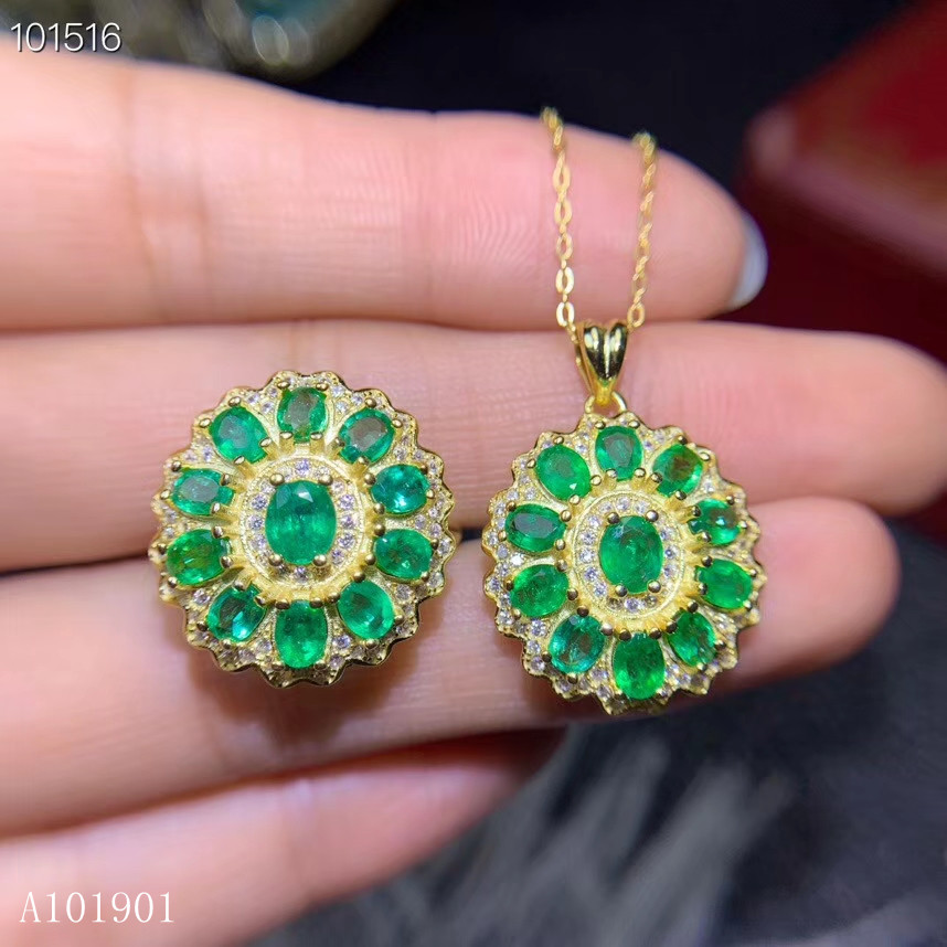 KJJEAXCMY boutique jewels 925 sterling silver inlaid natural emerald lady pendant necklace ring taoz support detection