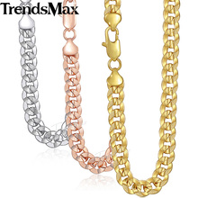 9mm 50cm 60cm Mens Necklace Gold Rose Gold 585 Silver Color Hiphop Miami Curb Chain Jewelry GN57 Trendsmax(Hong Kong)