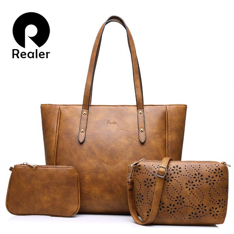 REALER brand 3 sets women handbag casual artificial leather tote bag large shoulder bags+ladies solid handbags+small purse