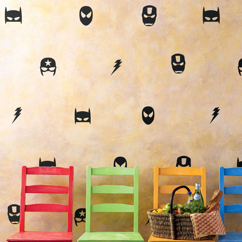 28 Pcs /set little Marvel Mask Wall Stickers Boys Nursery Decor Iron man Batman Spiderman AU N815