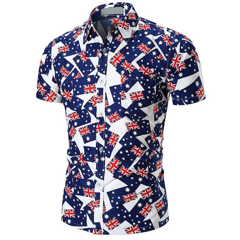 Mens Hawaiian Shirt Male Casual camisa masculina Printed Beach Shirts Short Sleeve brand clothing Free Shipping Asian Size 2XL