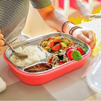 Kids Lunch Tray Dishs Boxs Stainless Steel Children Tableware Lunchbox Portable Picnic Food Fruit Storage Container