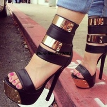 Women Sandals Casual Stiletto Heel Zipper Covering High Platform Shoes Sexy Nightclub Metal Decor