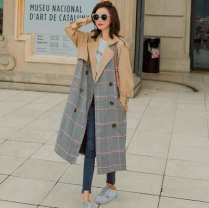 Trench Coat for Women 2018 High Street Double Breasted Plaid Turn-down Collar Autumn X-Long Women's Overcoat with Pocket