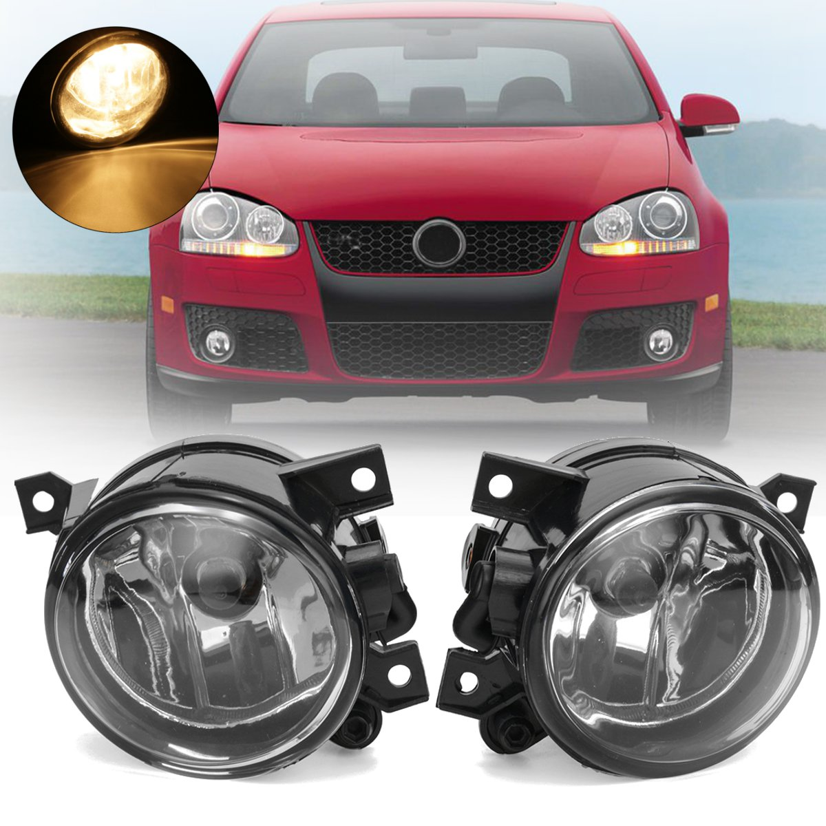 Left/Right Side Amber Car Bumper Fog Light Lamp w/ Bulb For VW Polo/Golf/Caddy/EOS/Tiguan/CC 2003-2010 2011 2012 2013 2014 автокресло peg perego peg perego автокресло viaggio 1 duo fix k rouge