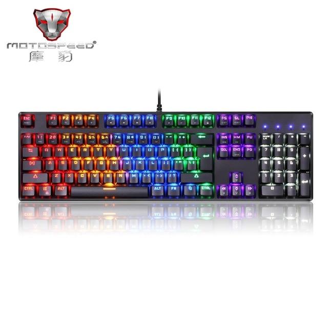 Official Sale! Motospeed CK96 profession Gaming Mechanical Keyboard RGB Backlight 104 Keys Anti-ghosting Keys Blue/Black Switch цена