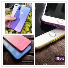 Gradient color Clear Silicon Ultra Thin Soft TPU Case For 7 7Plus 8 8Plus X Transparent Phone iPhone 6 6s 6Plus 6sPlus