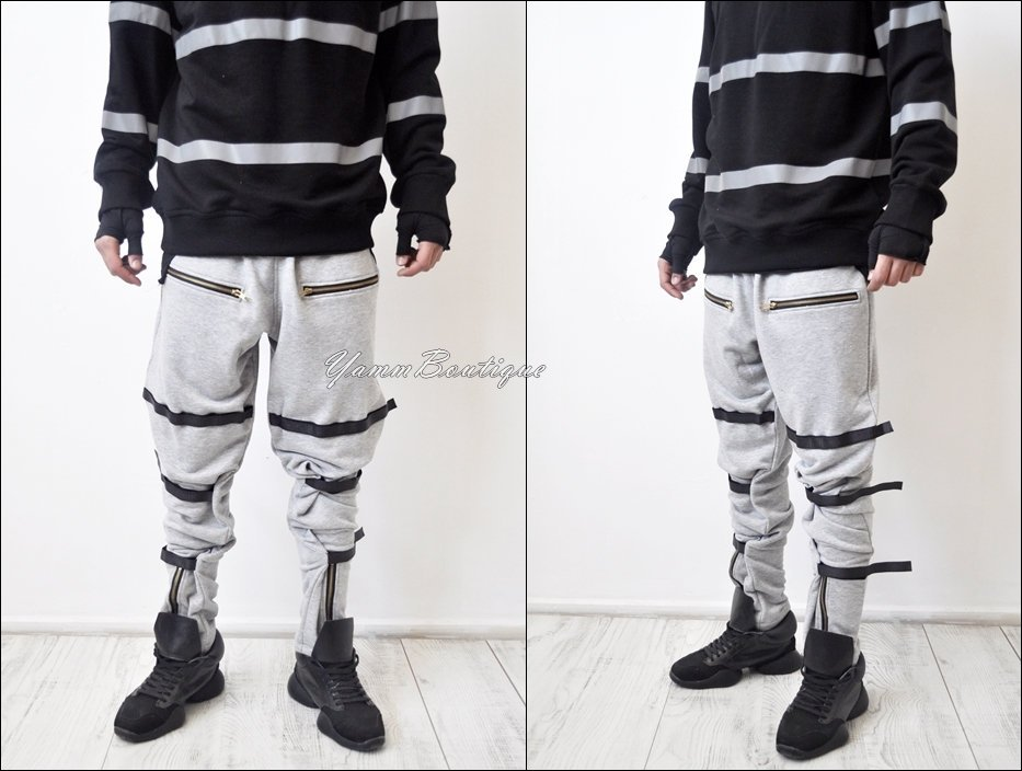 Men's Hi Tech Military Cargo Pants Loose Fit Biker Banded Strap Closer Sweatpant Joggers / Tapered Fit Side Stripe