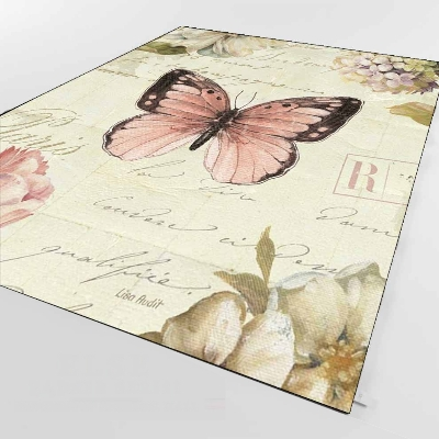 Else Hand Writen Vintage Pink Black Butterfly 3d Print Non Slip Microfiber Living Room Decorative Modern Washable Area Rug Mat