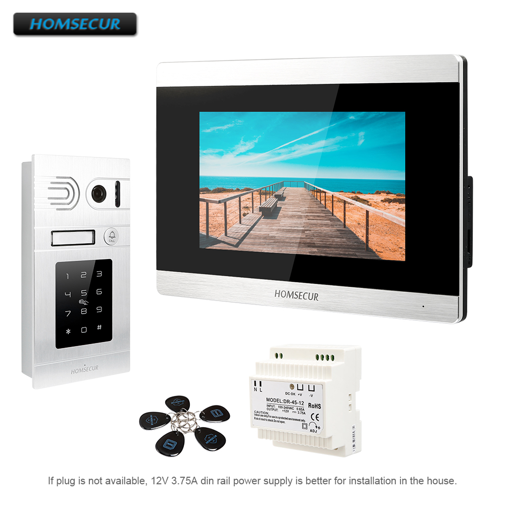 HOMSECUR 7 Wired Video Door Entry Phone Call System Intercom+Password and RFID Access  BC071-S + BM715-SHOMSECUR 7 Wired Video Door Entry Phone Call System Intercom+Password and RFID Access  BC071-S + BM715-S