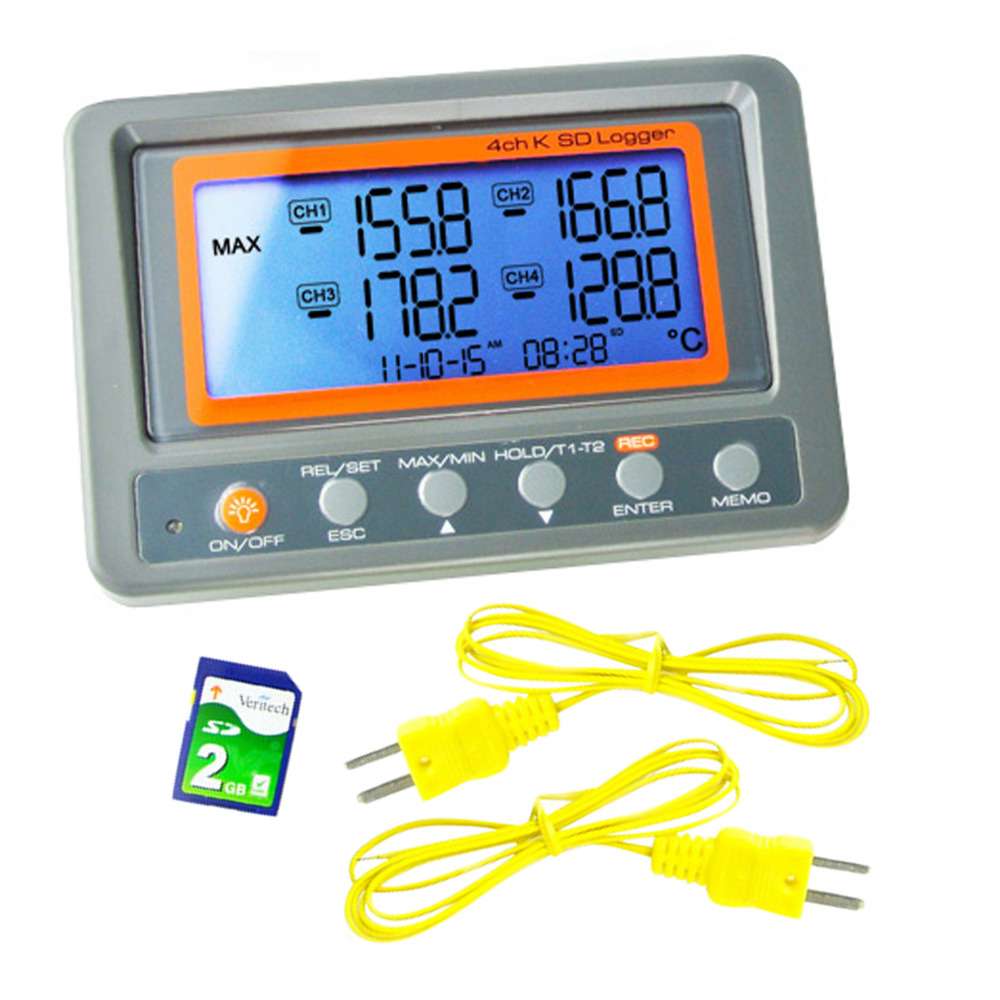 4 Channel -328~2498 degree C/F K-Type Thermocouple 2GB SD Card Temperature Wallmount Thermometer Logger цена
