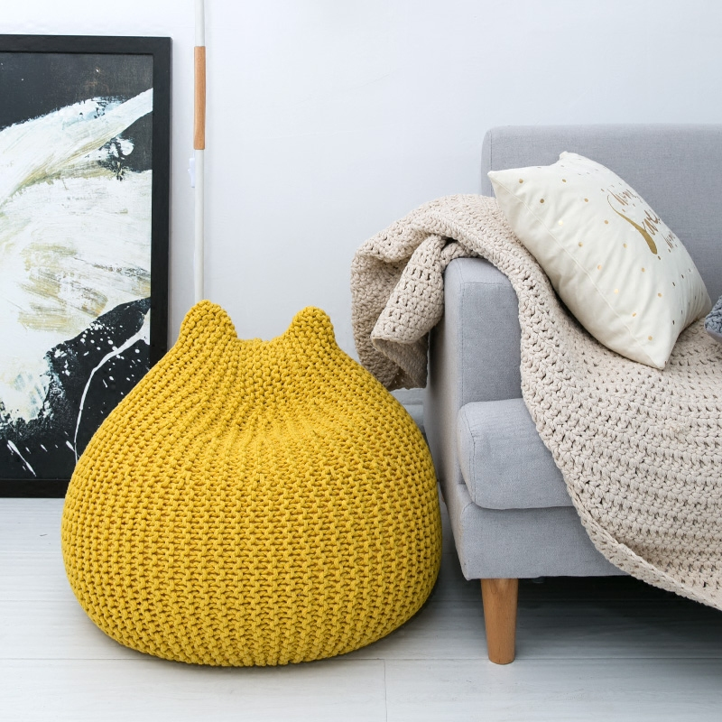Modern Handmade European Style Lazy Bean Bag Sofa Childrens Chair Living Room Single Puff Sofa Tatami Home Decoration 4