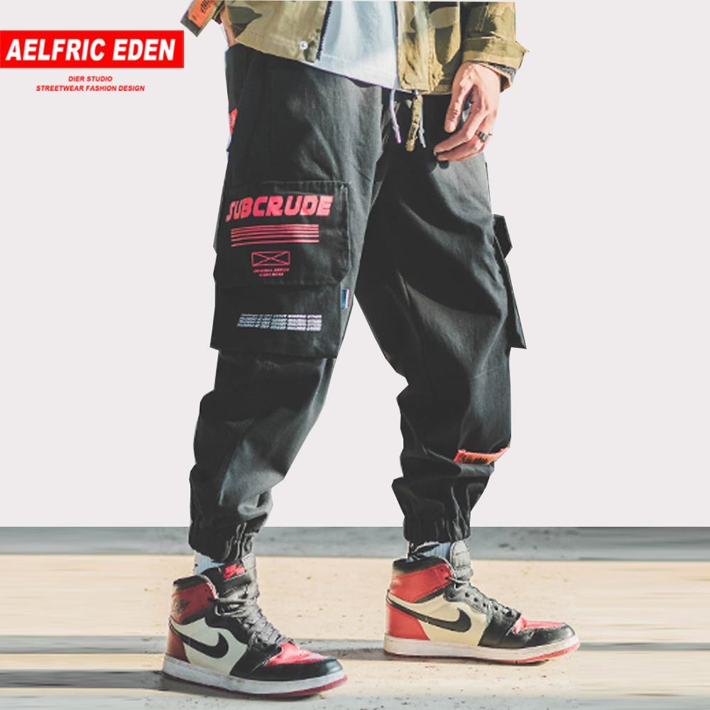 4c21dc0a07e3 Aelfric Eden Harem Joggers hombres Cargo pantalones Multi bolsillos Regular  moda Casual Harajuku Streetwear marea Hombre Pantalones de chándal B041