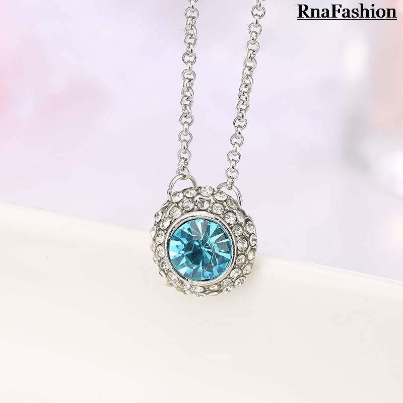 RNAFASHION Jewellery Pendant Necklace Round Shape Austria Crystal Link Chain Vestidos Wedding Necklaces For Women 2017