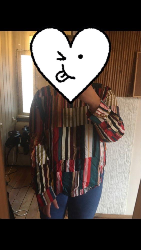 Striped Curved Hem Plus Size Elegant Multicolor Longline Blouses Women Spring Round Neck Patchwork Tops Blouse photo review