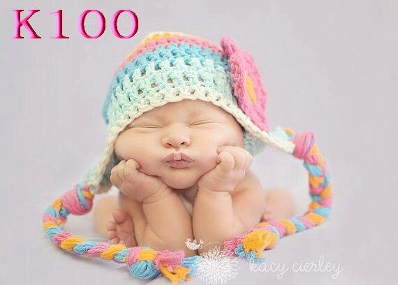 Neue Ankunft Winter Warme Nettes Baby-säuglingskleinkind Handgemachte Häkelarbeit Beanie mädchen blumen Hut Cap Zubehör