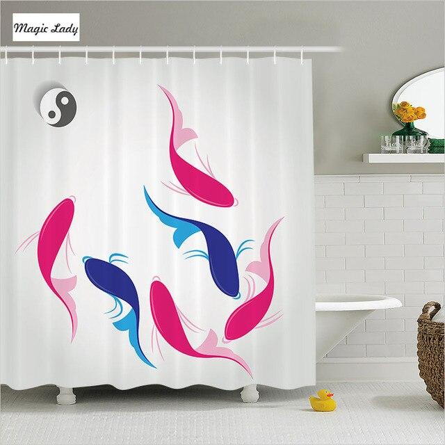 fish shower curtain fabric bathroom accessories pair of squid