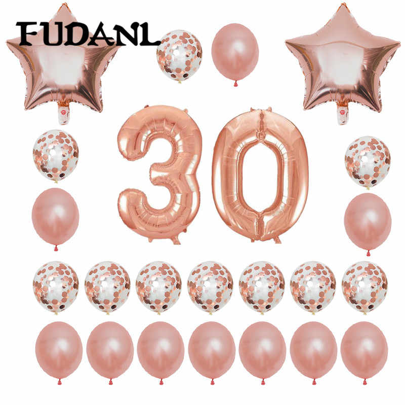 24pcs 1 21 30 40 50 60th Happy Birthday Rose Gold Star Confetti Balloon 40inch Number