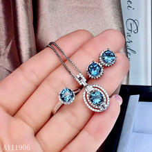 KJJEAXCMY boutique jewelry 925 sterling silver inlaid natural gemstone blue topaz female ring necklace pendant earrings set supp jewelry 925 sterling silver natural topaz earrings mini small oval girls earring shaped faceted gemstone translucent luxury supp