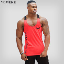 YEMEKE 2018 Fitness Men Bodybuilding Tank Tops Sleeveless Gyms Clothing Singlet Cotton Shirts Summer Fashion font