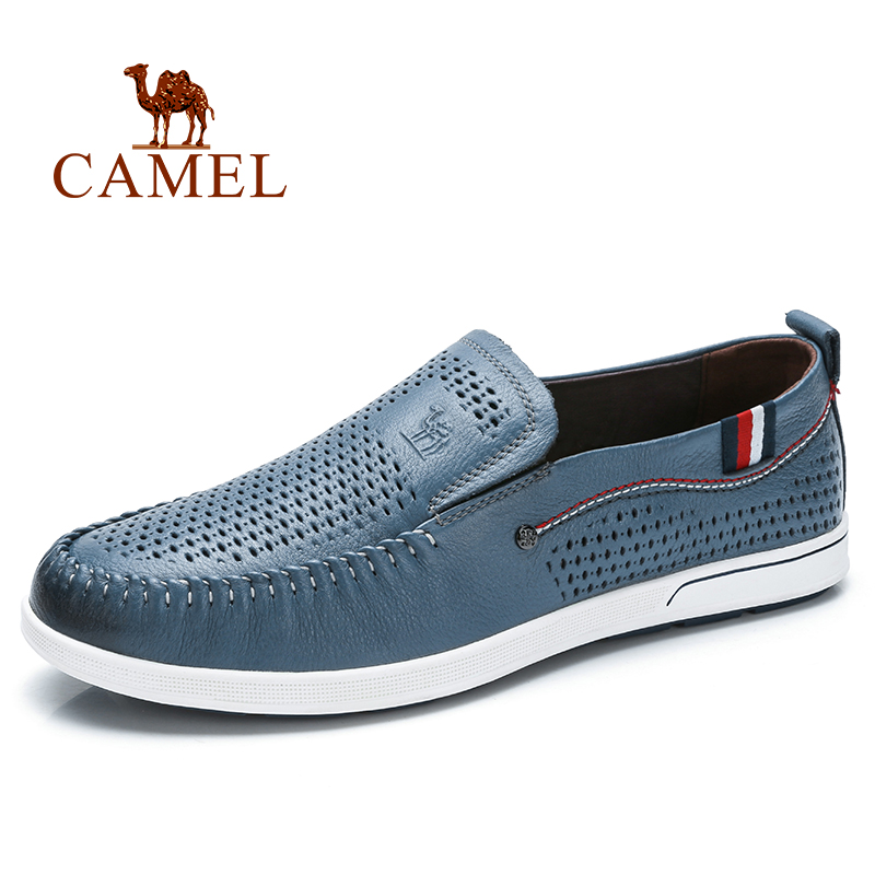 CAMEL Men s Shoes Summer Breathable Loafers Men s Genuine Leather Hollow Wild Fashion Comfortable Men