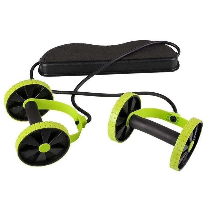 Double Wheels Ab Roller Pull Rope Waist Abdominal Slimming Equipment Muscle Exercise Equipment Home Fitness Equipment