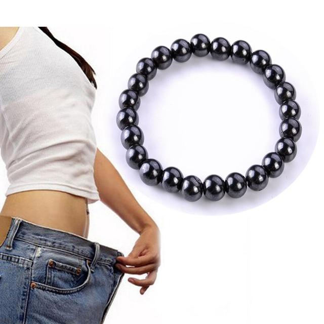 調整可能な減量ラウンド黒石磁気治療ブレスレット健康的な痩身製品男性女性 L3