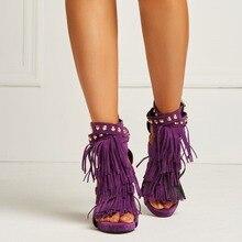 Women High Heel Sandals Faux Suede Tassel Rivet Heels Shoe Party Dress Shoes
