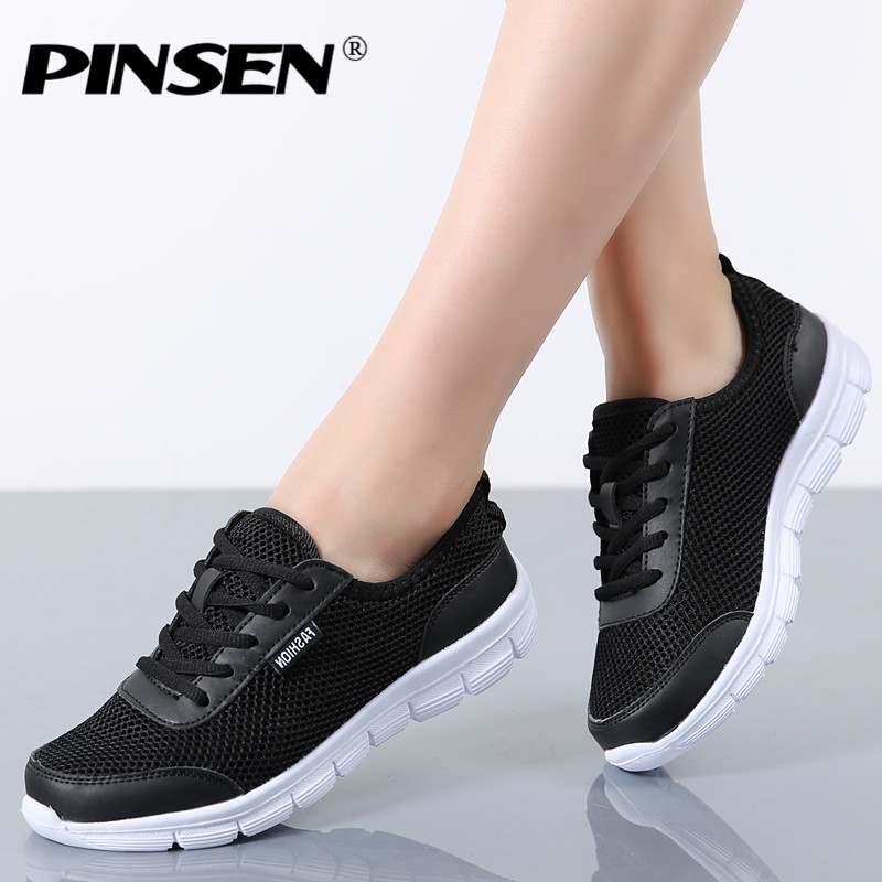 PINSEN Fashion Women Shoes Summer Breathable Lace up Casual Shoes Big Size 35-42 Light Comfort Light Weight Air Mesh Women Flats fashion women casual shoes breathable air mesh flats shoe comfortable casual basic shoes for women 2017 new arrival 1yd103
