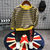 2pcs boys striped letter printed fashion clothing set kids o neck long sleeve t shirt and black pant set baby all match clothes