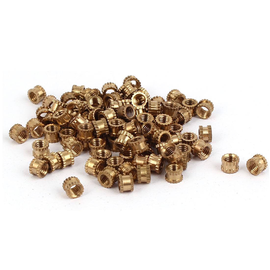 все цены на UXCELL Hot Sale 100Pcs/lot M3x3mm Female Thread Brass Knurled Nuts Threaded Insert 0.5mm Pitch Embedment Nuts Fastener Accessory онлайн