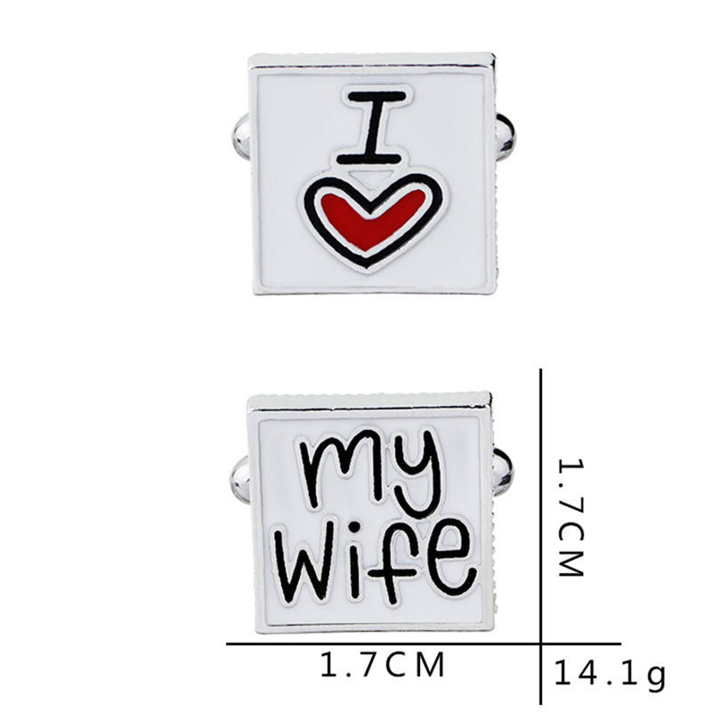 Fashion Cufflink For Men Husband I Love My Wife 2018 Design Good Husband Cuff Link Men Shirt Charm Cufflinks Anniversary Gift R4