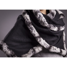 black purple chinchilla fur scarf female ladies winter autumn spring wraps wool women fashion  S16