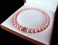 Rare Huge 12mm Genuine South Sea Pink Shell Pearl Necklace Heart Clasp 18