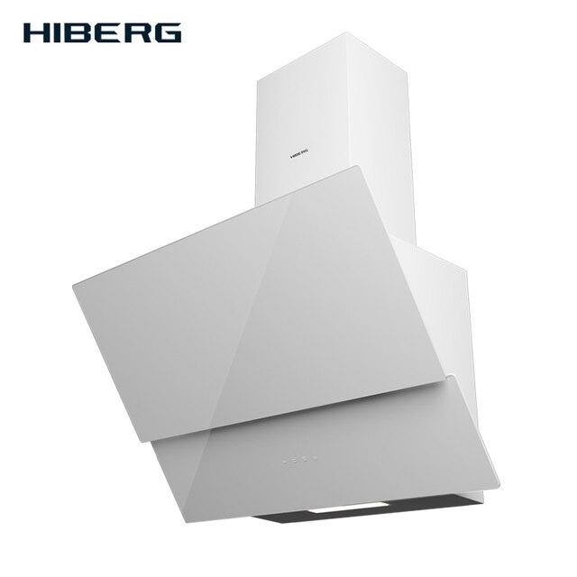 Кухонная вытяжка (воздухоочиститель) HIBERG NM 6061 W, закаленное стекло, сенсорное управление, 550 куб.м/час, LED 2*2.5 Вт, 3 скорости