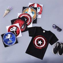 Футболки с блестками для мальчиков с изображением Человека-паука, Капитана Америки, модная детская футболка, детские топы, одежда