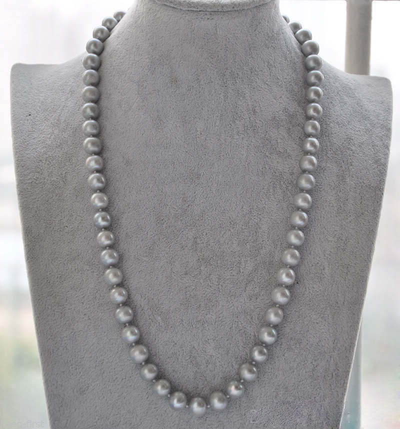 22AAA 9-10mm natural south sea tahitian gray pearl necklace  >>>girls choker necklace pendant Free shipping22AAA 9-10mm natural south sea tahitian gray pearl necklace  >>>girls choker necklace pendant Free shipping
