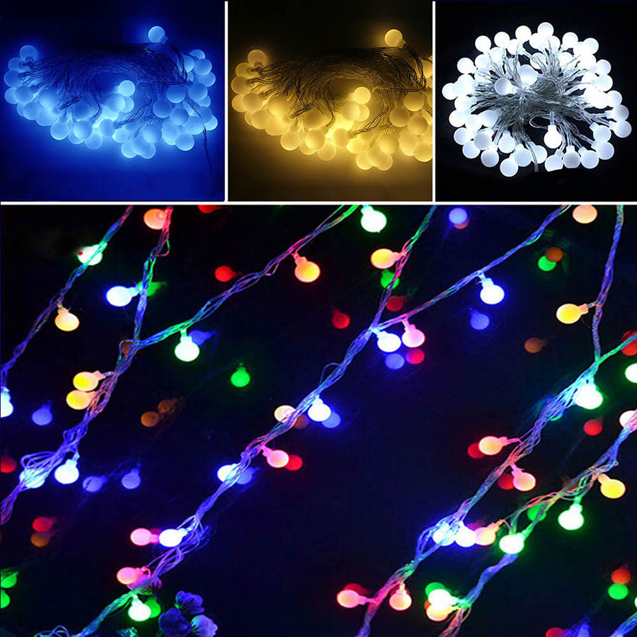 10M LED Cherry Balls Fairy String Light <font><b>60</b></font> Bulbs 8 Mode USB Ball String Lamp Christmas Tree Wedding Festival Party Decoration image