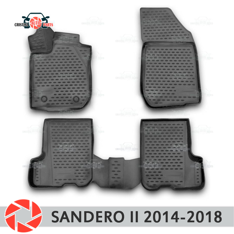 Floor mats for Renault Sandero 2014-2018 rugs non slip polyurethane dirt protection interior car styling accessories