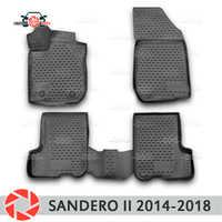 Tapis de sol pour Renault Sandero 2014-2018 tapis antidérapant polyuréthane protection contre la saleté accessoires de style de voiture intérieur