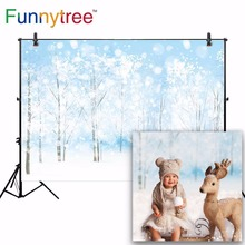 Funnytree backgrounds for photography studio bokeh cartoon Christmas winter forest snow dream children backdrop photobooth prop