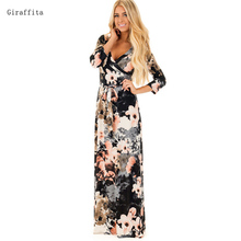 2017 Giraffita Women Casual Dress New Fashion Print Long Dress Women Autumn Elegant Dress With Belt Good Quality