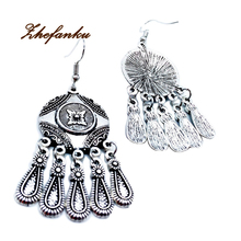 1 Pair Ethnic Retro Palace Style Classical Bohemian Droplets Tassel Earrings  Carved Geometry  Jewelry For Women Wholesale