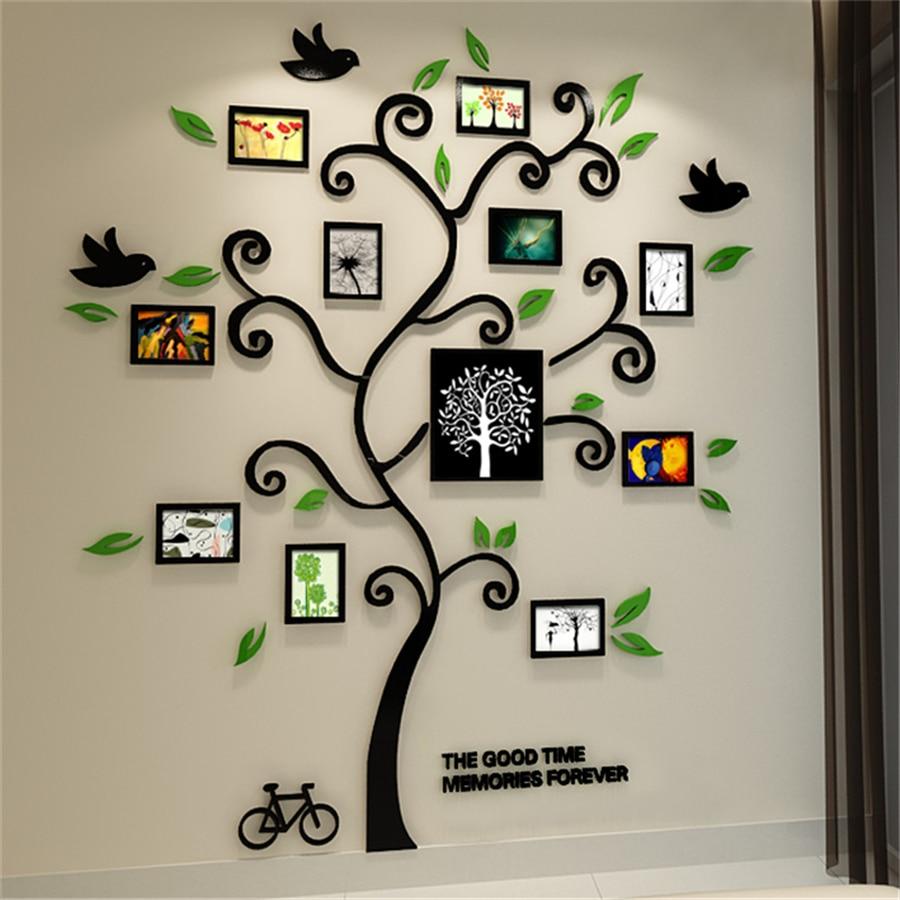 New Family Tree Photo Frame Crystal Acrylic Wall Stickers Three Dimensional Sticker Tv