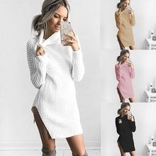 Women Fashion Winter Long Sleeve Sweater Split Turtle Neck Solid Color Dress